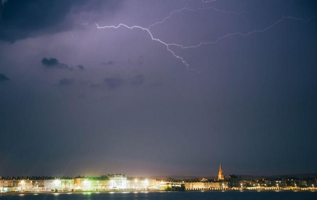lightning over Weymouth seafront. Picture: Justin Glynn