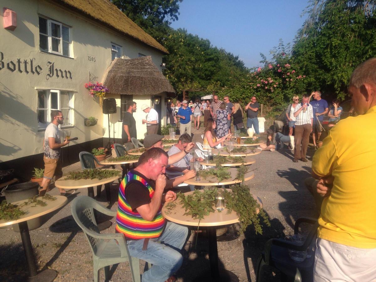 The World Nettle Eating Competition returns to The Bottle Inn, Marshwood