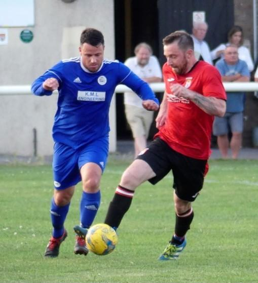 Tom Richardson, right, scored early on for Bridport                                                   Picture: STEPHEN BARRETT
