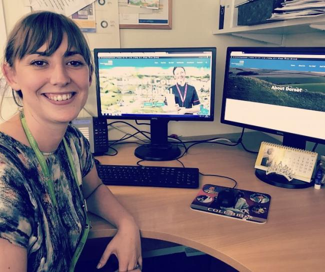Communications Officer, Meghan Hindley, shows off the new recruitment microsite     Picture: Dorset County Hospital