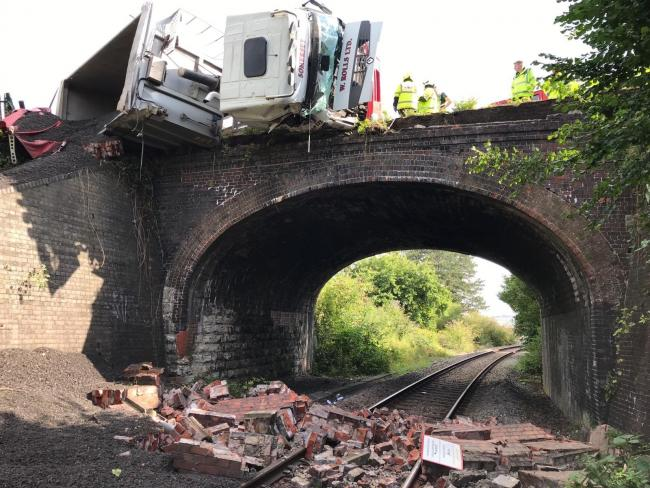 A lorry has hit the railway bridge at Castle Cary. Picture: Network Rail Western