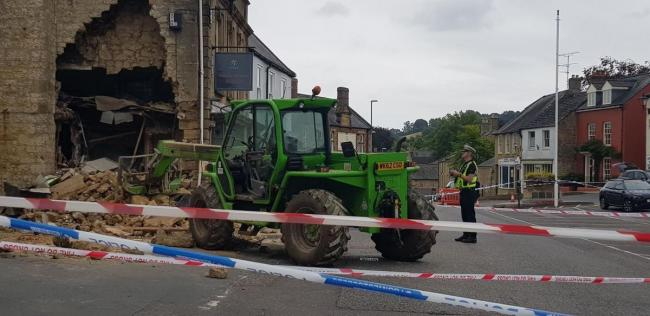 The scene at Beaminster after the cashpoint raid. Picture: Rachel Hayball
