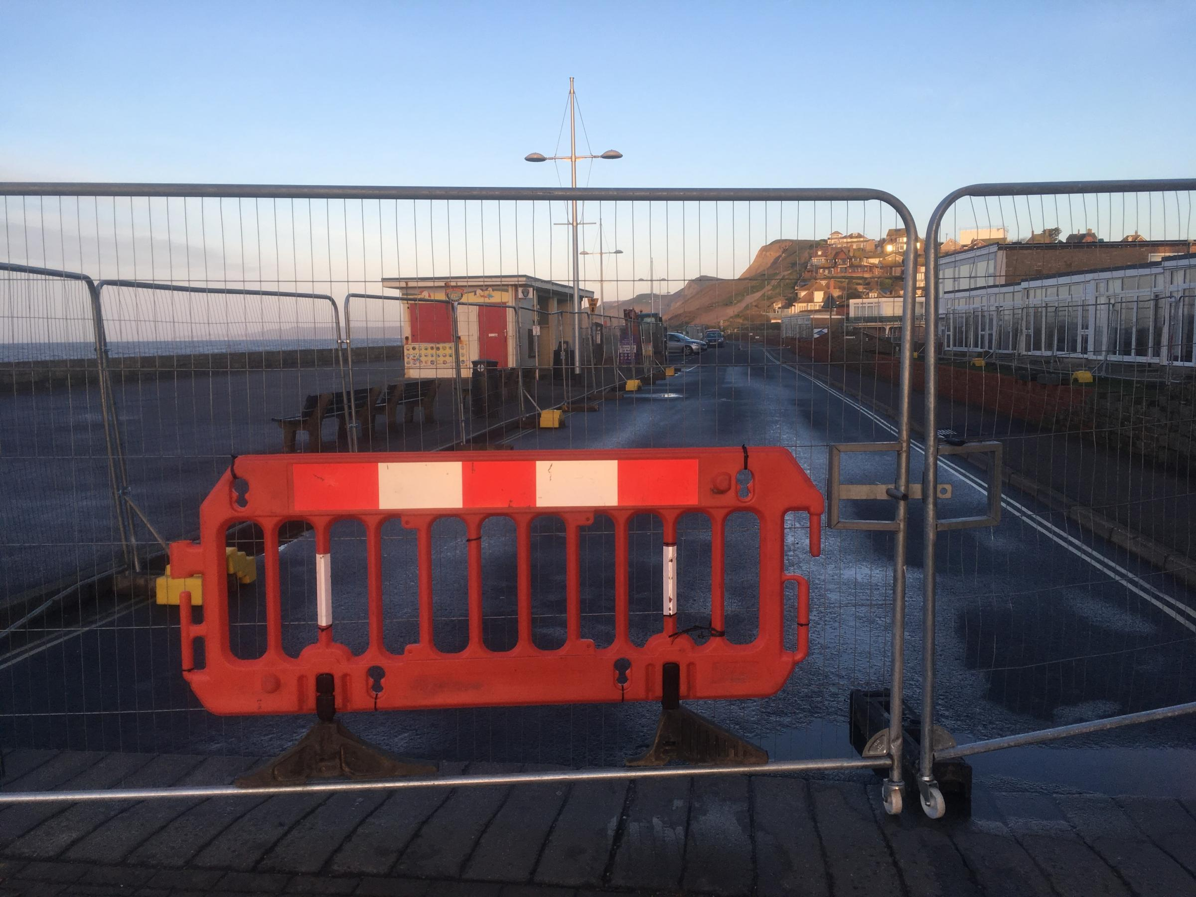 Work on the sea defence wall at West Bay has re-started