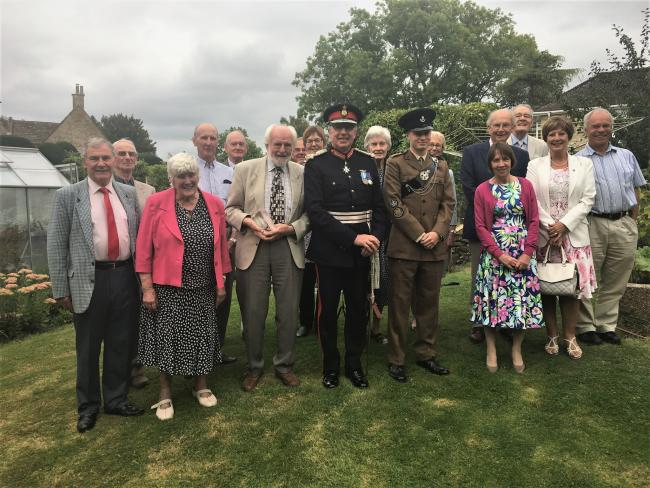 Beaminster Museum volunteers with chairman Murray Rose and Angus Campbell, Lord Lieutenant of Dorset