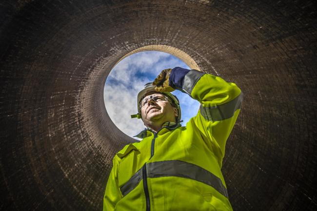 A worker in a cooling tower at Ferrybridge C Power Station