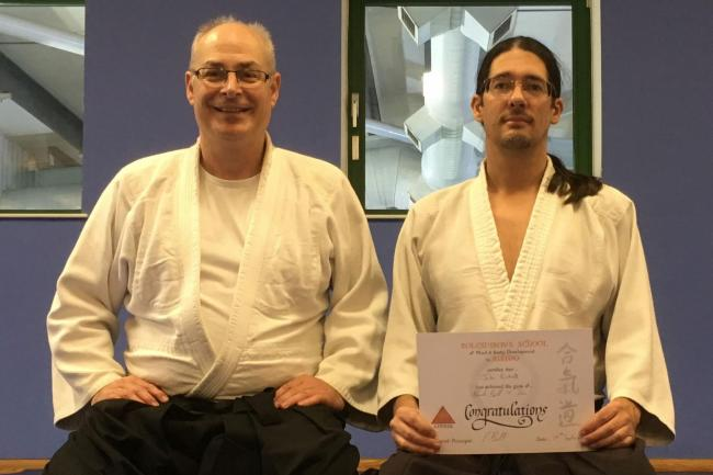 From left to right: Sensei Phil Bolt (6th Dan) with Sensei Jake Birkett (4th Dan)