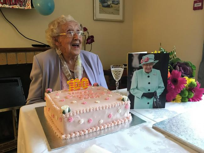 Joan Cool celebrates her 100th birthday at Fairfield House in Lyme Regis