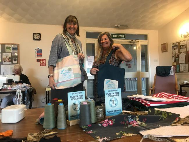 Polly Benfield and Rose May, who helped get the scheme going, model the Bamboo Bags