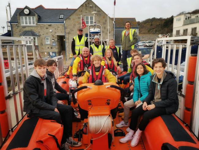 The Woodroffe students with Lyme Regis RNLI crew Picture: SEB COPE