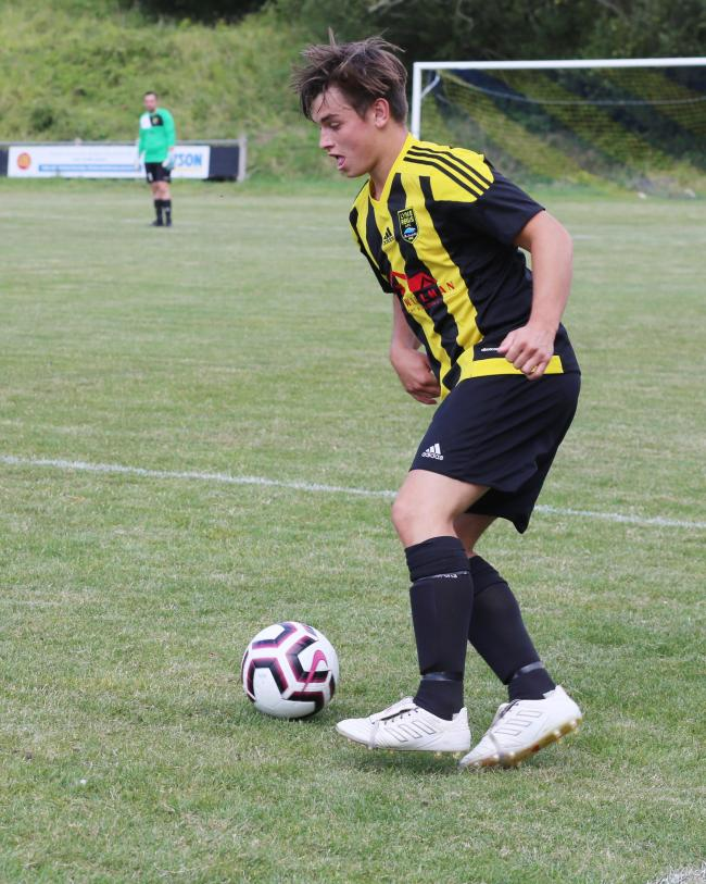 Cody Bowditch scored twice for Lyme Picture: MAISIE HILL