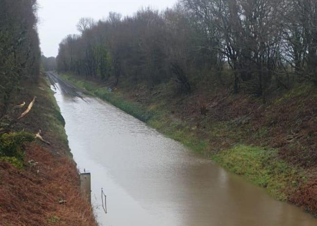 Flooding at Sway Picture: Network Rail