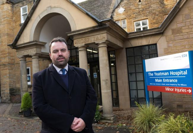 Chris Loder MP outside the Yeatman Hospital, Sherborne