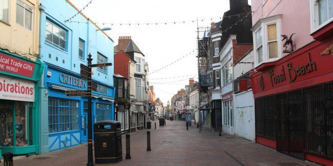 Empty Weymouth town centre during lockdown Picture: Peter Waller
