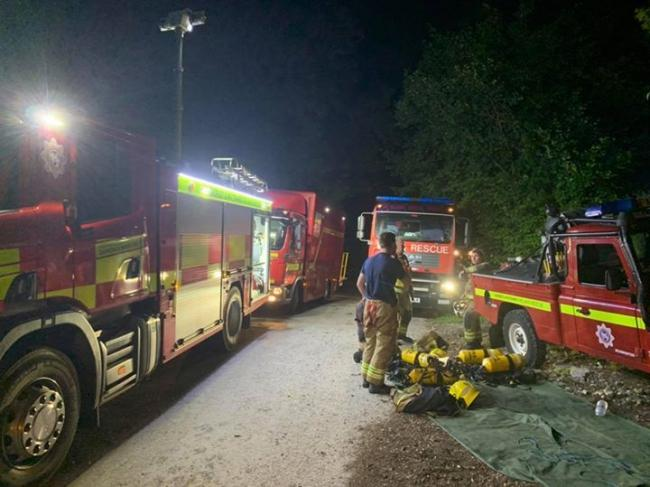 A barn caught fire near Powerstock   Picture: SHERBORNE FIRE STATION