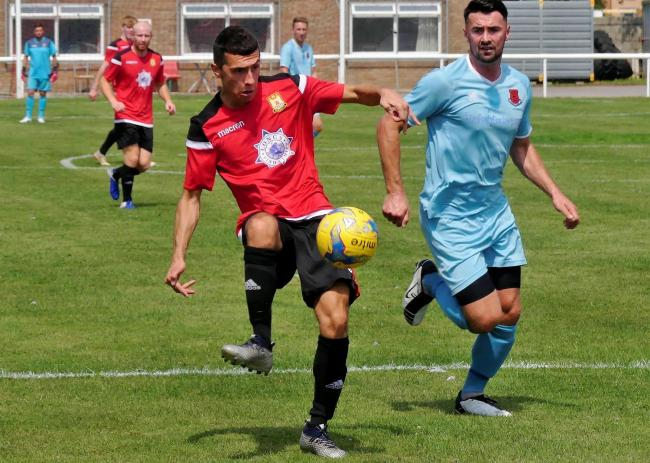 Dec Cornish, left, saw a goal ruled out for a push on the Bishops Lydeard goalkeeper   Picture: STEPHEN BARRETT