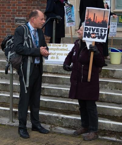 Andy Canning meets protesters at a prevous meeting