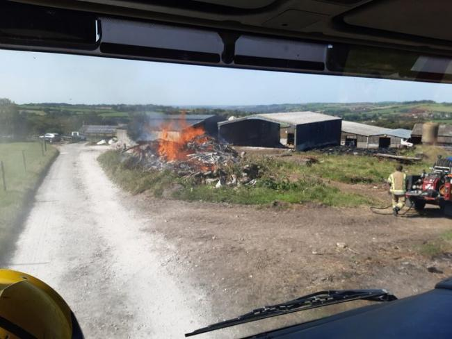 Beaminster and Crewkerne firefighters extinguish wood fire in Buckham Down Picture: Beaminster Fire Station/DWFRS