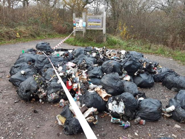 60 bags of rubbish dumped and set alight at nature reserve