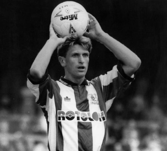 Kevin Hodges takes a throw-in for Plymouth during his final season with the club in 1992-93 Picture: PLYMOUTH HERALD