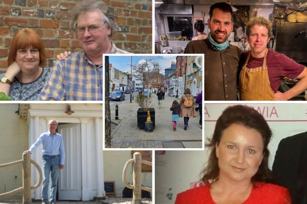 Bridport businesses are excited to reopen. Clockwise: Geraldine and John Baker, the Ropemakers, Soulshine owners Joel Gostling and Andy Tyrell, co-owner of Station Kitchen Claire Moore and John West of West Bay Discovery Centre. Middle: South Street