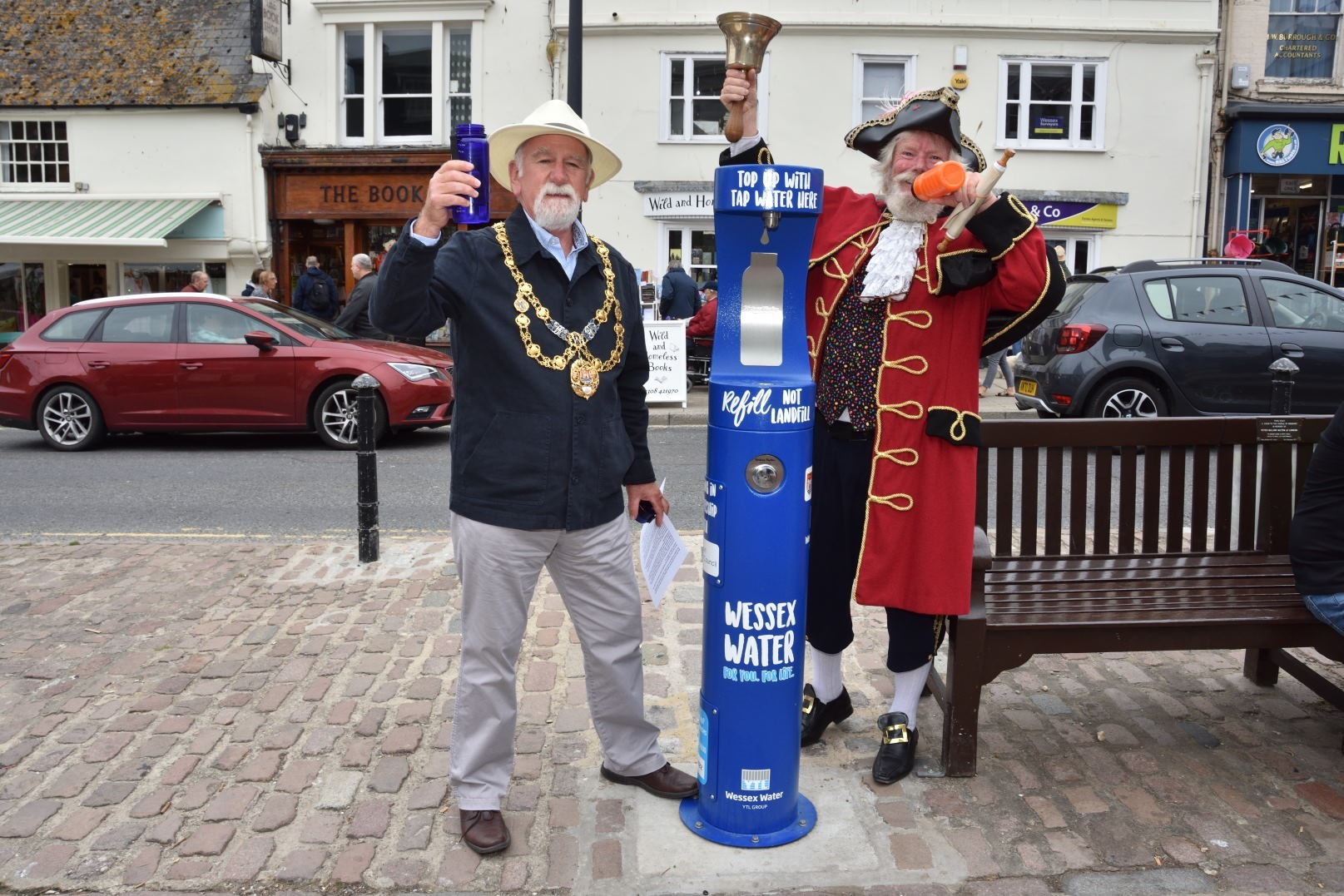 Mayor and town crier open water fountain in Bucky Doo Square | Bridport and Lyme Regis News