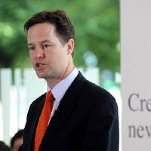 Deputy Prime Minister Nick Clegg speaks at the City and Islington College, north London