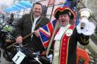 Town Crier Phil Street and deputy mayor Daryl Turner in high spirits at the Lyme Regis 25th Coast to Coast motorbike run