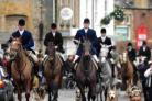 West Dorset: Cattistock Hunt make their way through Beaminster Square