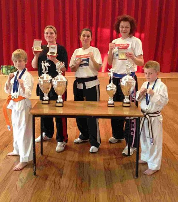 TABLE OF HONOURS: Matt Fiddes students, back row, from left to right: Ash Herron, Lucy Fear (instructor), Roxanne Sewell. Front: Tyler Nottley, Cade Adams