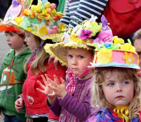 Youngsters at Lyme Regis Easter bonnet parade