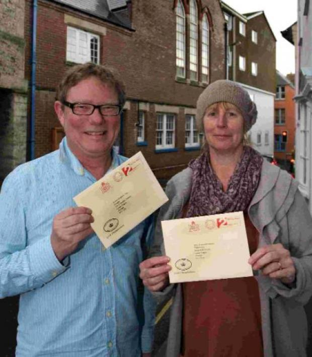 Fran Williams and Ayvin Rogers with their royal invitations