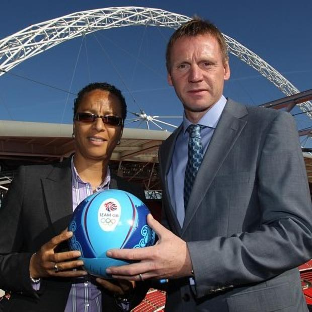 Womens GB football team manager Hope Powell (left) and Mens GB football team manager Stuart Pearce