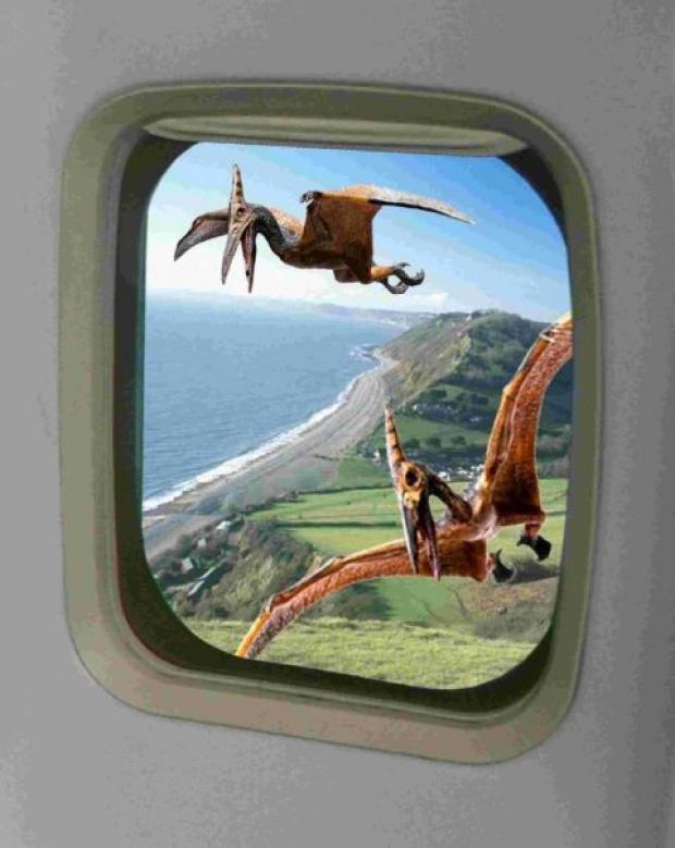 An artist's impression of a trip on Jurassic Airlines