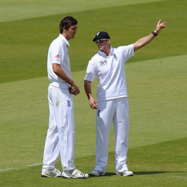 Steven Finn (left) and Andrew Strauss