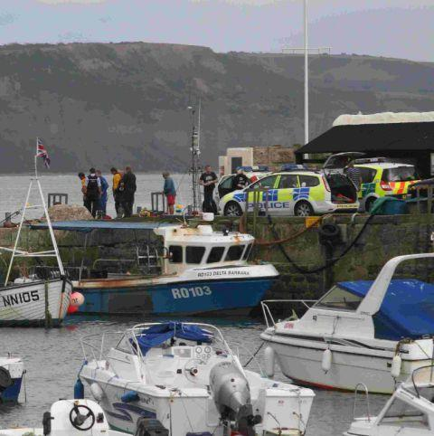 The scene at the Cobb, Lyme Regis, where Clair Perkins fell into the harbour
