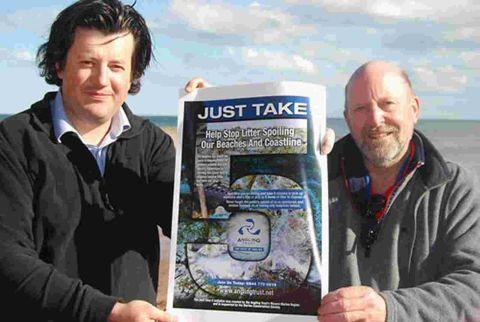 SAFETY MATTERS: Manager David Mitchell and Phil Hyde of the trust launch the 'Just Take 5' anti-litter campaign.