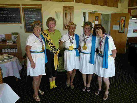 GOLD MEDAL WINNERS: The Mount Olympus team of Maureen Hicks, Lady Captain Sue Pollock, Shirley Gilbert, Eleanor Butler and Heather Boyle with ladies' captain Sue Pollock