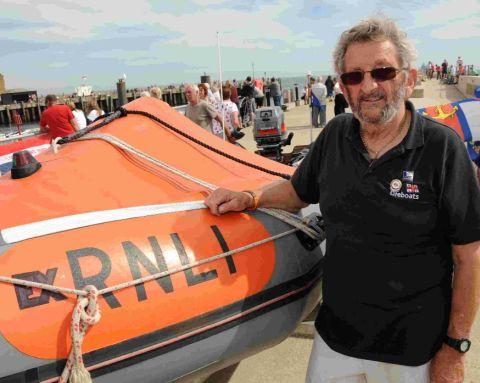 Mike Stoodley with an ex-RNLI inshore lifeboat