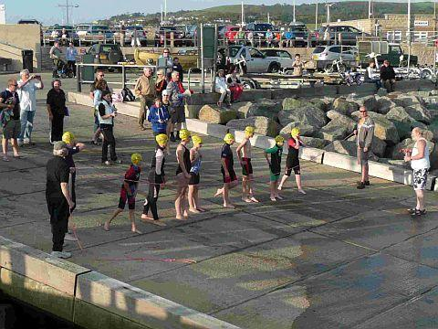 ON YOUR MARKS: Swimmers get ready for the start of the New Delapre