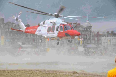 THREATENED: The coastguard helicopter