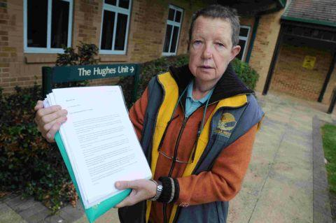 CAMPAIGNING: Ros Copson outside the Hughes Unit with all her paperwork