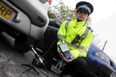 ON GUARD: Lyme Regis PCSO Luke White with exhaust noise monitoring equipment
