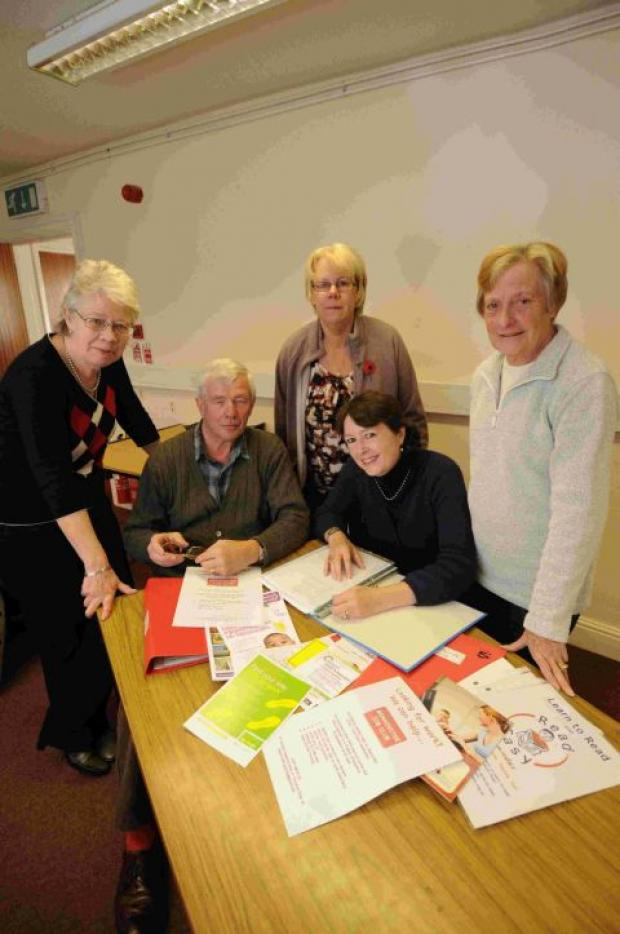 A HELPING HAND: Beaminster Job Club volunteers, from left, Jacqui Sewell, Christian Tyler, Janice Scott, Rebecca Knox and Jeanette Benton