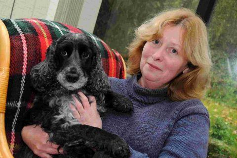 CLOSE CALL: Andrea Collingridge wih her spaniel Abbi