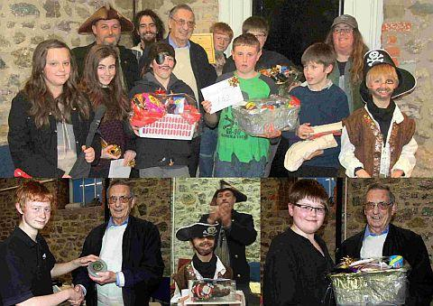 AHOY THERE: West Bay's Jurassic League presentation line-up, pictured left to right: Jordan Scholler, Tiana Foot, Robinson Wreck (Black Wreck Music Project), Pyrate Jack, Charlie Lawson, Fred Bowditch (president), Keiran Ellison, James Lawrence, Elliot