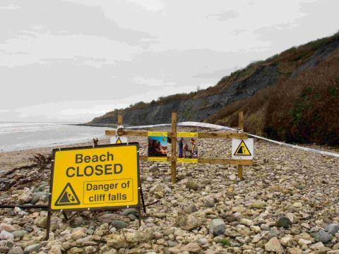 STAY AWAY: Landslips have closed Monmouth Beach