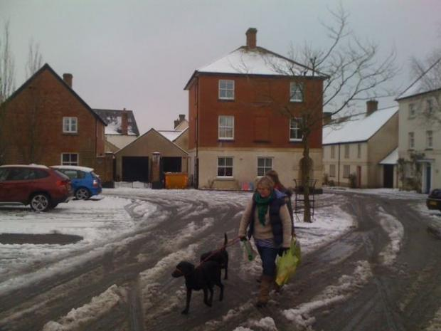 Icy conditions in Poundbury this morning