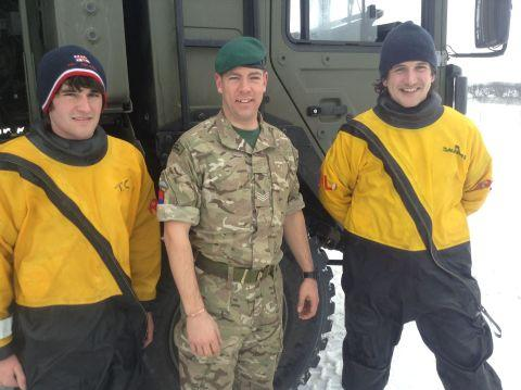 Lyme Regis RNLI volunteers Tom Crabbe, left, and Murray Saunders helped the Army in the snow chaos