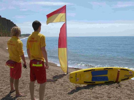 BAYWATCH: lifeguards on duty at West Bay