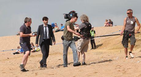 Filming Broadchurch on the beach at West Bay.